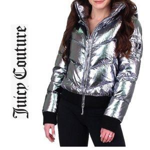 JUICY COUTURE Silver Metallic Puffer Coat Jacket